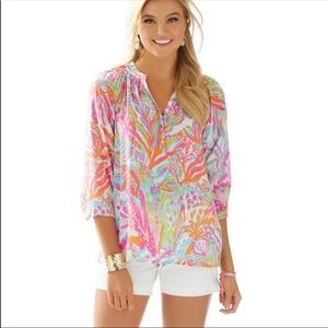 LILLY PULITZER Top Elsa Silk Tunic Scuba To Cuba